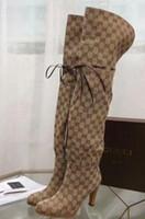 sur les chaussures achat en gros de-Nouvelle dame chaude Toile Sur-le-genou Botte Marque Dames Bottes D'équitation Femmes Chaussures Cuisse Talons Bottes Femmes