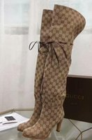 yeni diz yüksek botları toptan satış-Yeni sıcak lady Tuval Over-the-diz Boot Markalı Bayanlar Sürme Çizmeler Kadın Ayakkabı Uyluk Yüksek Topuklu Çizmeler Womens