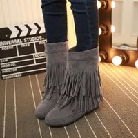 Wholesale black head scrub for sale - Group buy New Autumn and Winter Scrub Head Semi High Heeled Elevator Boots Flat Bottomed Tube liu su xue plus Velvet faux suede slim boots
