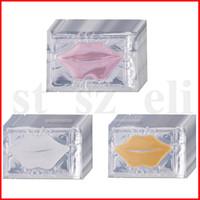ingrosso pastiglie cosmetici-Maschere Rosa Bianco labbro dell'oro del collageno di cristallo Donne Maschera Idratante Labbra bellezza Anti rughe Patch Pad Gel