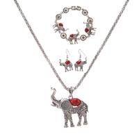 Wholesale blue bracelets sets resale online - Bohemia Elephant Pendant Necklace Bracelet Earrings Set European and American Exaggerated Jewelry Three Piece Set