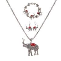 conjunto de jóias do brasil venda por atacado-Boho Elefante Colar de Pingente de Pulseira Brincos Conjunto Europeu e Americano Declaração Exagerada de Jóias Conjunto de Três Peças Atacado