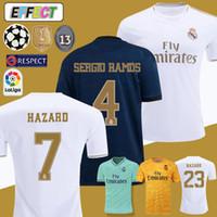 xxl camisa branca venda por atacado-Novo 2019 Real Madrid HAZARD Soccer Jerseys EA Sports Camisas De Futebol 18/19/20 Início MODELO MARCELO 2020 3o VINICIUS JR KROOS ISCO ASENSIO BALE Camisas De Futebol Shirts Kit