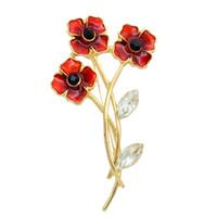 kırmızı haşhaş broş toptan satış-Kırmızı Emaye 3 Haşhaş Çiçek Broş Kristal İNGILTERE Anma Günü Hediyeleri ile