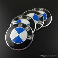 autocolantes roda azul venda por atacado-56 mm emblema azul e branco da etiqueta para a Cobertura do Eixo BMW BMW Roda Hub Cap Decal Stickers