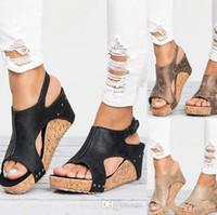 sandalias de cuña de plataforma romana al por mayor-Diseñador de la mujer Sandalias Pescado Boca Moda romana Tacón alto de cuero Plataforma impermeable Zapato Sandalia