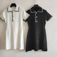 ücretsiz ipek kıyafetler toptan satış-512 2019 Pist Elbise Ücretsiz Kargo Flora Baskı Elbise Yaka Boyun Buz Ipek Siyah Beyaz Elbise Balo Moda Bayan Giyim QIAN