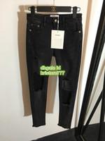 kız fermuar kot toptan satış-19 High End Kadınlar Marka Vintage Slim Jeans Delik Pantolon Sıska Kızlar Ile Yüksek Kalite Denim Pantolon Fit Fermuar Fly Uzun Pantolon
