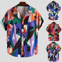 düğme bluzları kısa kollu toptan satış-Çiçek gömlek Erkekler Moda Rahat Kısa Kollu Düğme Boyama Büyük Boy Üst Bluz Gömlek Erkek hawaiian gömlek camisas de hombre