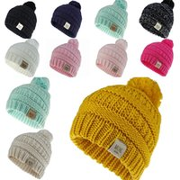 Wholesale crochet black white hats resale online - Knit Kid Crochet Beanies Hat With Ball Girl Boy Winter Warm Pompom Caps Colors dhl