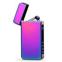 kostenlos usb leichter groihandel-Dual Arc Plasma Feuerzeug USB wiederaufladbare winddicht flammenlose Butan Free Elektro Feuerzeug für Zigarre, Kerzenlichtbogen mit Geschenkbox
