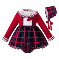 e0064e4e2 Pettigirl Wholesale Autumn Red Round Collar Baby Girl Party Clothing Set  long Sleeves Top With Bow Toddler Girl Clothes G-DMCS107-B386
