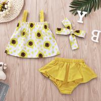 cintas de flores de niña bebé amarillo al por mayor-Baby Girl Juego de ropa de girasol Verano fuera del hombro Tops Shorts amarillos Diadema de flores 3 UNIDS SET para 0-2T