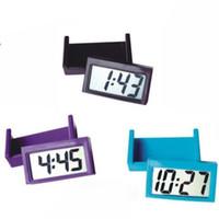 lcd masa saati toptan satış-Küçük Yapışkan Araba Masa Saati Elektronik İzle Göstergeler Dijital LCD Ekran Duvar Saatleri Plastik Saat Pil ile