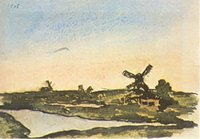 Wholesale windmill paintings for sale - Group buy Pablo Picasso Classical Oil Painting Dutch Landscape With Windmills Handmade By Experienced Painter On White Canvas Picasso194