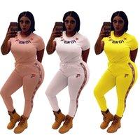 fitness elbisesi markası toptan satış-FENDS Kadınlar İki Adet Kıyafetler FF Mektup Eşofman Kısa Kollu T-shirt + Çizgili Pantolon 2 Parça Set Marka Streetwear Fitness Suit DHL C6503