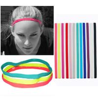 diademas deportivas para damas al por mayor-Cabeza de las mujeres Señoras Cuerda Multicolor Correr Diadema antideslizante Deporte Yoga gimnasio Diadema Elástico Gimnasio Sweatband banda para el cabello AAA1794