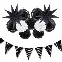 Wholesale hanging paper fans resale online - HandmadeSunbeauty Set Black And White Theme Party Decoration Paper Fan Pompoms Decor Party Supplies Hanging Ideas For Party