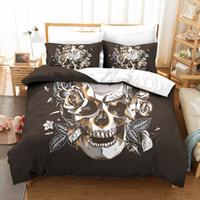 ingrosso skull bedding-Copripiumino Rose Skull Head 3Pcs Set 2019 Sale Copripiumino Microfibre tessuto Twin Stampe Twin Queen Home Copripiumini