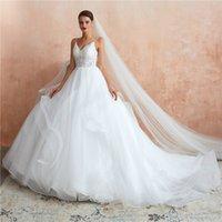 свадебные наряды оптовых-Vintage Soft 1990-х годов Вдохновленные белые свадебные платья 2019 Романтические многослойные рюшами Тюль Спагетти Элегантные Принцесса Страна Свадебные платья