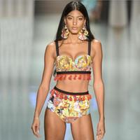 trajes de baño de estilo étnico al por mayor-Sexy Split Estilo étnico Bikini de cintura alta de las mujeres de la borla se reúnen traje de baño Playa de verano Backless Bikini S-XL
