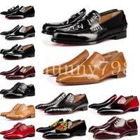 дизайн обуви из воловьей кожи оптовых-[с коробкой] 2019 коровьей кожи cl Red Bottoms Деловая обувь Роскошные свадебные туфли из натуральной кожи Шипы на шнуровке CL Designs black