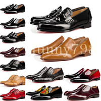 Wholesale men office leather shoes resale online - with box cowhide cl Red Bottoms Business shoes Luxury Party Wedding Shoes Genuine Leather Spikes Lace up CL Designs black