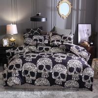 ingrosso skull bedding-Biancheria da letto stampata con teschi 3D Completa Copripiumino matrimoniale Full Aid EU US Taglia da letto con Federa nera Imbottito nero 3 pezzi