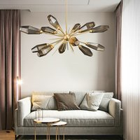 nordic glass chandelier großhandel-Nordic Glaskugel Led Kronleuchter E14 Anhänger Kronleuchter Beleuchtung Wohnzimmer Schlafzimmer Glanz Kronleuchter Innenbeleuchtung Lamparas EMS