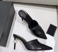 плоские шампанские сандалии оптовых-2019 козья кожа Grosgrain насосы натуральная кожа жемчуг высокие каблуки пр платье обувь Леди бежевый белый черный один обувь оригинальная коробка
