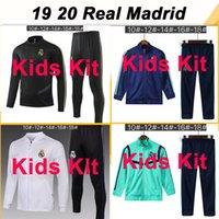 top-fußball trikot madrid groihandel-19 20 Real Madrid Jacket Kinder Kit Fußballjerseys New GEFAHR SERGIIO RAMOS BENZEMA Anzug Kinderanzug Trainingsbekleidung Fußball-Hemden Top