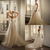Wholesale plus size beach wedding dresses for sale - 2019 Lace Boho Wedding Dresses Spaghetti A Line Beaded Shinny Berta Bohemian Wedding Dress Custom Made Plus Size Beach Bridal Gowns