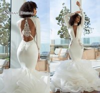 Wholesale trumpet wedding dresses lace v back for sale - Group buy 2019 Elegant Arabic Dubai Mermaid Prom Dresses Sexy Long Deep V Neck Long Sleeves Tiered Organza Open Back Evening Wear Formal Gowns