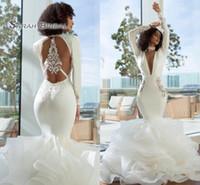 Wholesale long sleeve deep back wedding dress for sale - Group buy 2019 Elegant Arabic Dubai Mermaid Prom Dresses Sexy Long Deep V Neck Long Sleeves Tiered Organza Open Back Evening Wear Formal Gowns