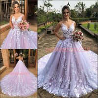 Wholesale ball gown wedding dresses colorful resale online - Glamorous Floral Lace Applique Wedding Dresses Train Country Garden Plus Size Said Mhamad Bride Ball vestido de noiva Wedding Gowns