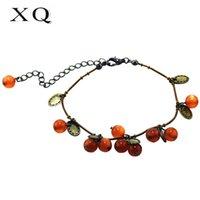 ingrosso fabbricazione di funi antichi-XQ perle rosse tonde fatte a mano rame antico braccialetto di corda di colore donne moda retrò divertimento accessori per feste regalo di festa