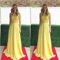 vestidos de baile amarelo à venda venda por atacado-2019 A linha de olhos amarelo Prom Dresses Jewel mangas curtas Chiffon Beads Prom vestido Custom Made Hot Sales