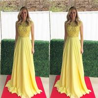ingrosso vestiti di promenade gialli in vendita-2019 Vista A-line Giallo Prom Abiti gioiello maniche corte in chiffon Perline Prom Dress Custom Made vendite calde