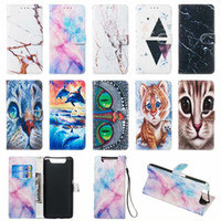 Wholesale owl skins for sale – best Marble Wallet Leather Case Rock Flower cat tiger owl Card Stand Skin Cover for Samsung A10 A20 A30 A40 A50 A60 A70 S8 S9 PLUS NOTE9 A20E