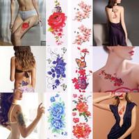 tatouages femmes sexe achat en gros de-3D réaliste rose fleur sexe étanche tatouages temporaires femmes flash tatouage bras épaule grandes fleurs autocollants