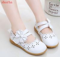 zapatos de vestir de princesa de chicas blancas al por mayor-shorha Baby Girls PU zapatos de cuero blanco rosa rosa Sparkle Party Ballerina Flats Little Kid bow Show Princess Dress Shoes