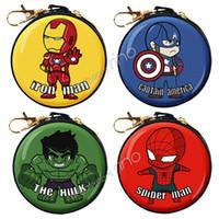 demir kelepçeler toptan satış-Avengers Marvel Coin Çantalar Kaptan Amerika Iron-man Örümcek-adam Hulk Teneke değişim çanta para klip sikke tutucu cüzdan ço ...