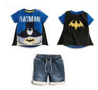 ingrosso baby clothes superman-baby designer abiti per bambini Set per bambini 100% cotone set da ragazzo estivo Lettera Stampa T-shirt da superman con mantello + denim short per bambini