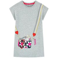applique baby tiere großhandel-Designer Kinderkleidung für Mädchen Beiläufiges, kurzärmliges, gestreiftes T-Shirt-Kleid Niedliches Sommerkleid aus Baumwolle mit Tierapplikationen Babykleidung