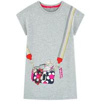 çocuklar gündüz gömlekleri elbiseler kızlar toptan satış-Tasarımcı Çocuklar Kızlar için Giysi Rahat Kısa Kollu Çizgili Tişört Elbise Hayvan Aplikler ile Sevimli Yaz Pamuk Elbise Bebek Kız giysi