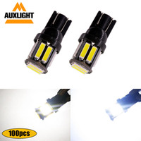 Wholesale car door panel led lights resale online - 100x T10 LED SMD Car Wedge Replacement Reverse Instrument Panel Lamp White Bulbs For Clearance Lights DC12V Auto