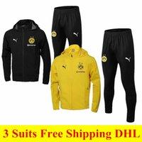 chaqueta impermeable amarilla al por mayor-3 unidades set envío gratis a DHL 1819 ropa deportiva de alta calidad 19 nuevo amarillo chaqueta con capucha traje casual a prueba de viento impermeable hombres calientes deportes