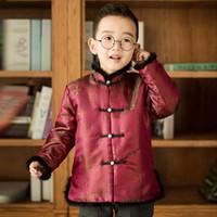traditionelle lange tops großhandel-Junge Kinder Tang Anzüge Traditionelle Beijing Chinese knot Top Sets Langarm Chinesisches Neujahr Ethnische Stil Kleidung