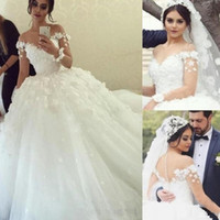 2020 Amazing Long Sleeves Ball Gown Wedding Dresses 3D Lace Appliqued Flowers Sheer Sweetheart Tulle Wedding Dresses with buttons