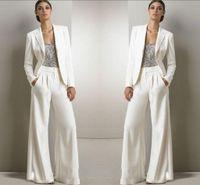 kleid hosen anzüge für frauen großhandel-2020 neue Bling Paillette-Elfenbein-weiße Hosen Anzüge Mutter der Braut-Kleid-formale Chiffon- Smokings Frauen-Partei-Wear Fashion Modest